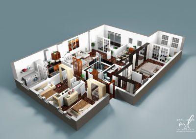 Plano 3D casa 3 dormitorios