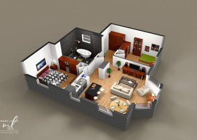Plano 3D apartamento