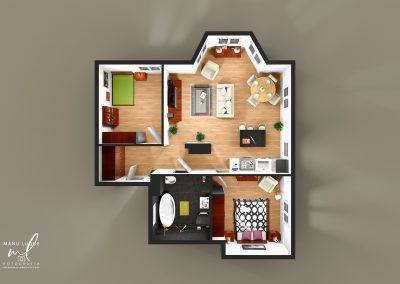 Plano 3D cenital apartamento